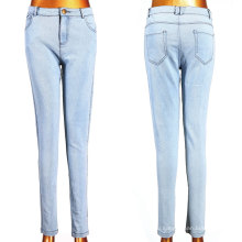 Белые сплетенные джинсы с маленьким эластиком