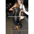 Сексуальные женщины мини-платье искусственной кожи сращивания полу-sheer Выдалбливают рукавов сплит bodycon платье черный