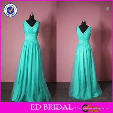 ED Bridal Fashion Ladies Vestidos De Fiesta V-neck Pleated Evening Dresses Long 2017 Elegant