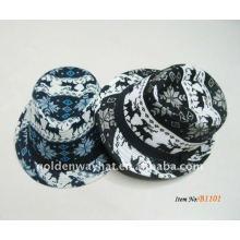 2012 sombreros blancos y negros de moda de Fedora Gorros Bordados