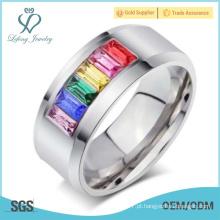 Romântico arco-íris casal gay anéis de casamento, lésbicas símbolos casal amor banda anéis jóias