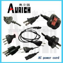 UL para casa PVC cabos 125V powercord extensão