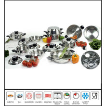 23piece Stainless Steel Cookware Set Wide Rolled Edge