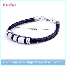 Pulseira de titânio para homens pulseiras de couro preto 316l jóias de aço inoxidável