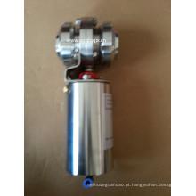 Válvula de borboleta rosqueada pneumática sanitária do aço inoxidável com união