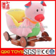 Novo design bonito presente rosa porco pelúcia cadeira de balanço com rodas