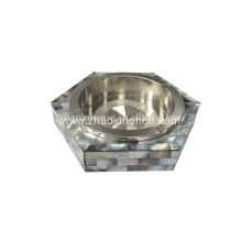 Smoking Accessories Stainless Steel Ashtray Made From Black Mother of Pearl