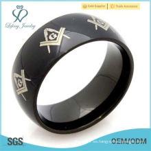 Joyería de la manera Freemason Masonic 316L acero inoxidable venda para hombre el anillo para mujer, color negro