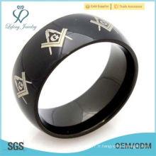 Mode Bijoux Freemason Masonic 316L en acier inoxydable Bague Femme Homme, Couleur Noir