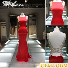 Modeste robe de soirée rouge sans dossier Robe de célébrité