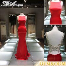Modest Red backless Evening Dress Celebrity Dress