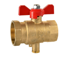 J5069 brass ball valve DN15 with red handle