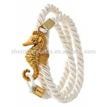 Atacado moda personalizado âncora pulseira de jóias náutica sorte puro pulseira corda branca para as mulheres
