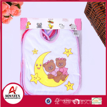 polyester cute cartoon characters printing baby drool bibs