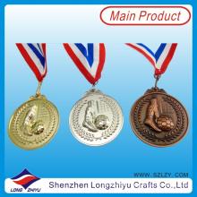 Liga de zinco 3D Medalha de Futebol Die Cast Gold Medalha de Bronze de Prata, medalha com o seu próprio logotipo (lzy00075)