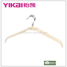 Limpieza en seco de PVC gruesa camisa de metal colgador de ropa sin barra en color natural