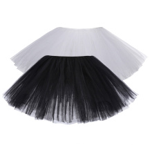 "Kate Kasin Mujeres Sexy 10 ""6-Capas Negro y Blanco Tulle netting falda Tutu KK000310"
