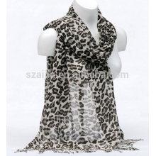 Lenço de algodão de impressão animal leopardo moda
