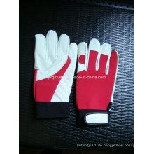 Weißer Lederhandschuh-Kuhlederhandschuh-Arbeitshandschuh-Sicherheitshandschuh-geschützter Handschuh