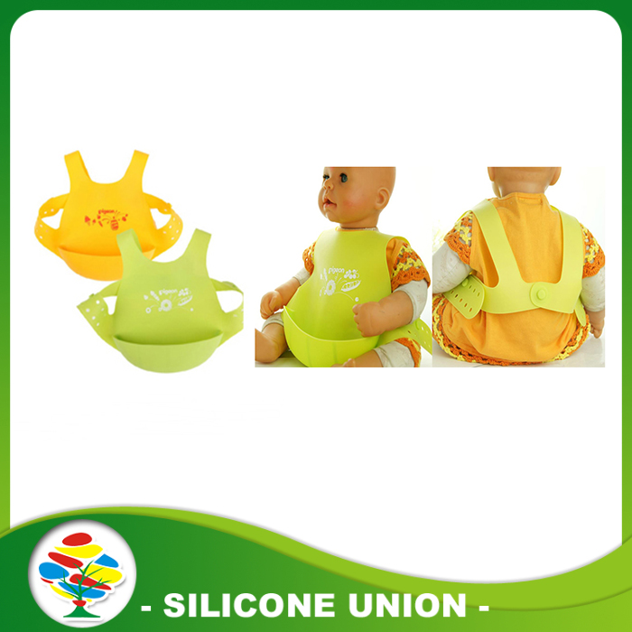 yellow green silicone bib