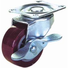 Swivel PU with Brake Furnicture Caster (Red)