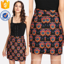 Ornate Print Textured Skirt Manufacture Wholesale Fashion Women Apparel (TA3097S)