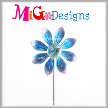 Blue Terrific Peacock Flower Metal Wind Spinners Stake