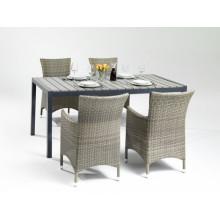 Mobília de pátio ao ar livre de madeira mesa de jantar de vime jardim PS