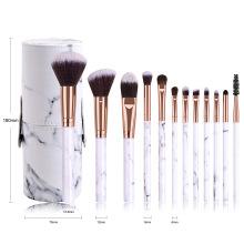 Makeup Brush Kit New 12pcs Professional Marble Make Up Brushes Makeup Brush Set With Case Cylinder
