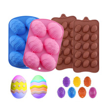 wholesale baking tools 6 cavity fondant cake molds eggs tray mould for chocolate large easter silicone egg mold