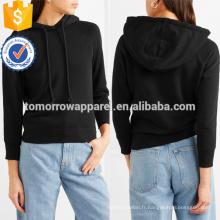 Haut de maillot de coton noir à capuchon OEM / ODM Fabrication de vêtements de mode en gros pour femmes (TA7017H)