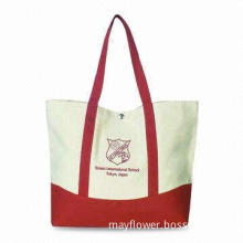 Canvas Shopping Bag with Metal Button Closure