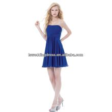 HC2197 barato simples azul royal strapless sem mangas recolhidos chiffon acima do comprimento do joelho curto curto curto vestidos de volta