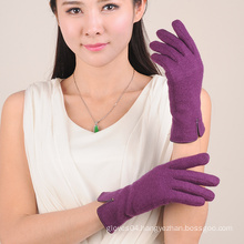 fur lined purple color ladies thick wool gloves