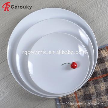 Prix à bas prix assiette en céramique en céramique blanche