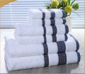 100%cotton colored dobby white towel set