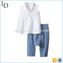 La ropa al por mayor de los cabritos europeos 2 pedazos fija la camiseta con la ropa de los pantalones