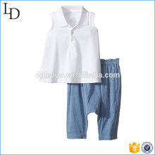 Wholesale european kids clothes 2 pieces sets t shirt with pants clothes