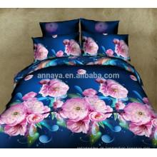 Neueste 3D Blumen Bettwäsche Designs mit Fitted Bed Sheet und Steppdecke Cover Factory