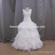V neck A line organza bridal dresses