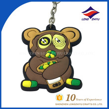 Factory Direct Custom Plastic Animal Rubber Keychain With Cute Bear