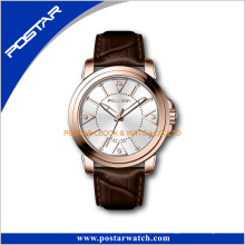 Reloj famoso de los hombres de las señoras de la marca Rose Gold China Products con la correa de cuero