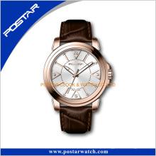 Relógio de pulso famoso dos produtos de China do ouro dos homens das senhoras do tipo com correia de couro