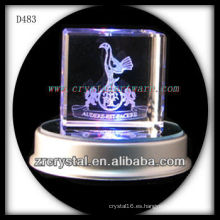 3D cubo de cristal laser grabado con base led