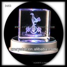 3D лазерная гравировка кристалл куб с светодиодные база