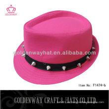Sombrero del fedora para las muchachas hermosas con el nuevo diseño de la manera del remache para la fiesta
