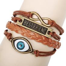 original melhor amigo liga metálica vintage retrô infinito pulseira olho bola bronze chapeado marrom cera cabo pulseira de couro