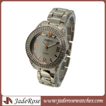 Luxury Generous Ladies Real Gold Diamond Alloy Watches for Women