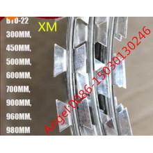 Bto-22 galvanizado mergulhado quente 450, 600, 700, 900, 960mm Concertina arame farpado