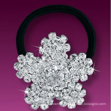 fashion metal silver plated crystal snowflake hair band
